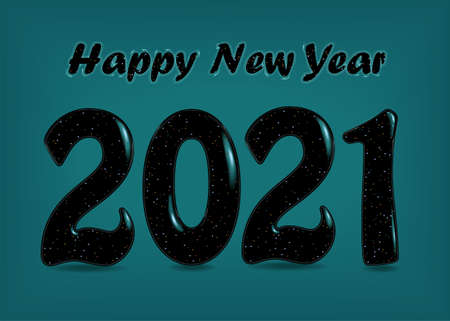 Happy New Year. Black number 2021 with blurs and sparkls. Vector illustration