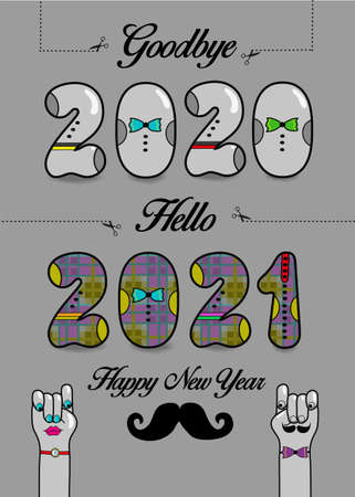 Goodbye 2020. Hello 2021. Happy New Year. Artistic numbers with ties and buttons, black texts and scissors. Cartoon male and female hands looking at each other. Gray background. Vector Illustration