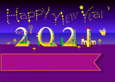 Yellow text Happy New Year with stars in the sky. Number 2021 is as a white houses with red doors, roofs and green trees. Night sea and beach background. Big banner for custom text. Vector Illustration