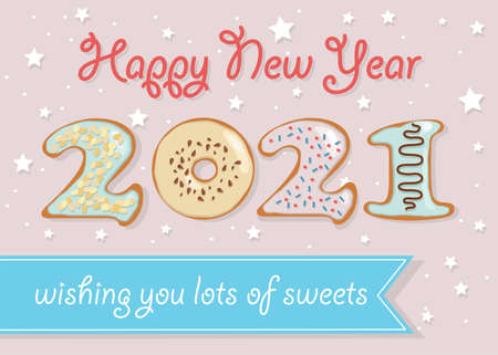 Happy New Year 2021. Colorful number as sweet donuts with cream and nuts decor. Background with stars and confetti. Banner with text - Wishing you lots of sweets. Cream text - Happy New Year. Vector Illustration Vector Illustration
