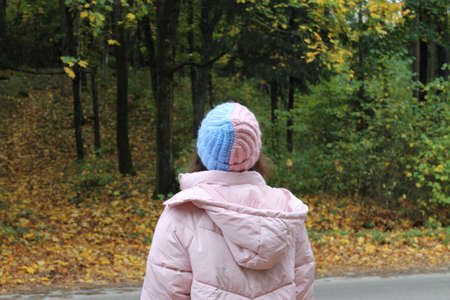 Girl in a warm 2-colored hat, autumn forest with yellow leaves 版權商用圖片
