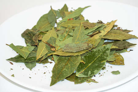 Dried green bay leaves on a white spice plate