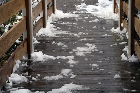 Slippery handicap ramp covered in melting snow and ice photo