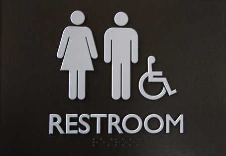universal: Universal restroom sign for male, female and handicap usage