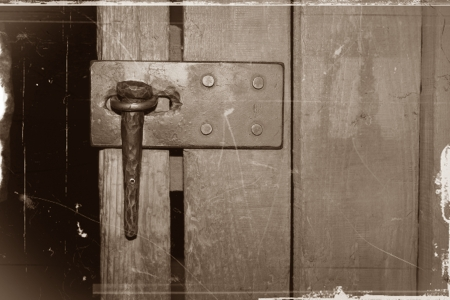 antique wooden door and nail latch for lock