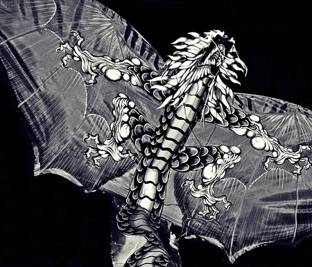 avid: Flying Oriental Dragon is shown here in black and white done in impressionistic art style for avid art lovers and lovers of all things traditionally oriental Stock Photo