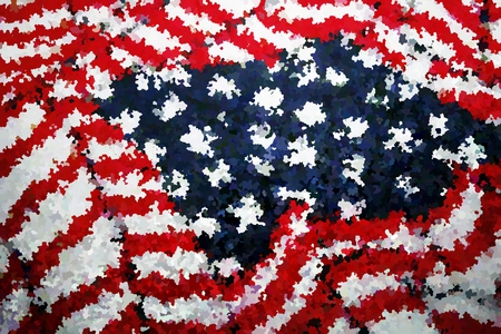 hook like: Textured American Flag done in impressionism style Stock Photo