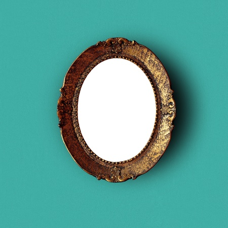 Antique art frame on green wall, with content cutout and with shadows. Included paths for cutting. Stock Photo - 8922435
