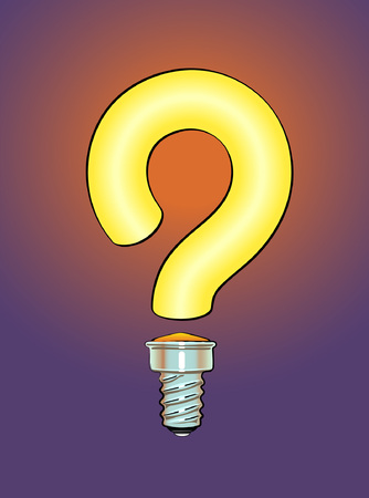 Lighted question mark in form of a light bulb. Vector