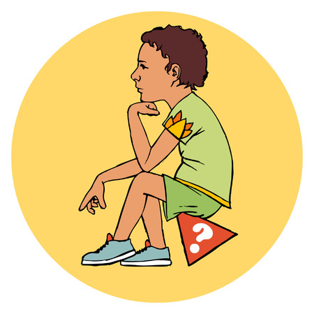 dwell: A boy sitting on a orange triangle postament with white question mark on it.