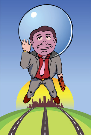 Middle age executive flying away above the city with his head in a bubble. Stock Vector - 8922427