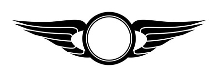 wings icon: Modello di segno composto da circoli e Ali stilizzate. Vettoriali