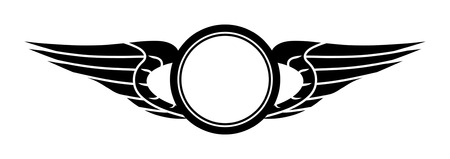 trademark: Sign template consisting of stylized wings and circles. Illustration