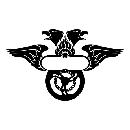 Emblem with Wing, Eagles, Fire and Motorbike Wheel Vector
