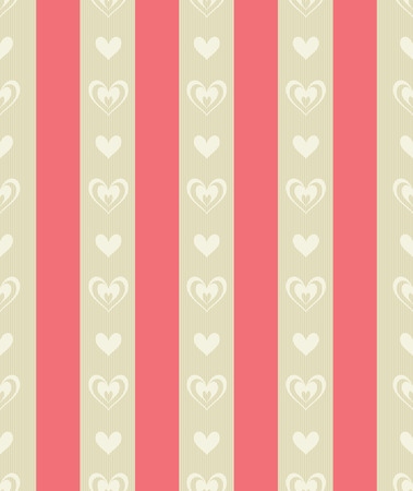 Seamless Tile of Carmine and Pale Ocher Stripes with Pale Ocher Heart Shapes  Vector