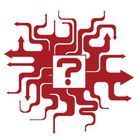 square detail: Flechas cobarde sinuosas buscando caminos similares en diferentes cursos y direcciones Vectores