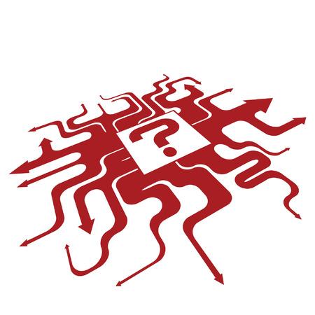 questioning: Wicklung Funky suchen wie Wanderwege in verschiedenen Kursen und Richtungen drei dimensionalen schiefen nach rechts Pfeile