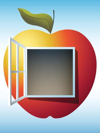 Ruddy y madura Apple con la ventana en su centro sugiriendo la puerta al conocimiento