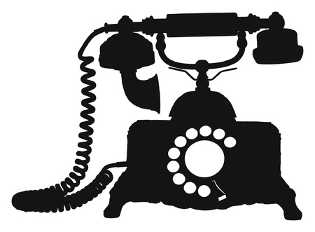 out of use: Vintage Victorian Style Telephone Silhouette Vector Graphic