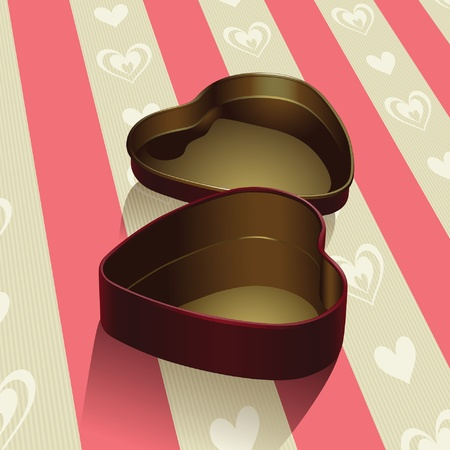 Heart Shaped Tin Box for  Sweets and Sweethearts Vector