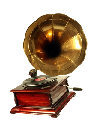 musically: Vintage Gramophone  with Horn Playing the Record Stock Photo