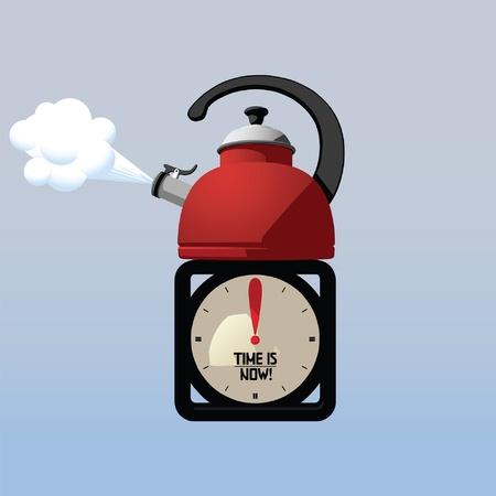 maquina vapor: Tetera y reloj de escritorio haciendo atenci�n a tiempo para t� Vectores