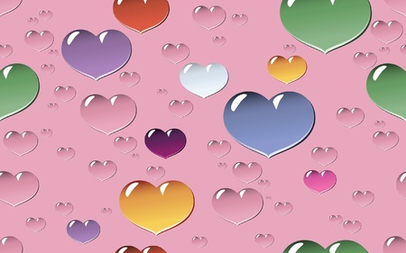 Colorful and vivid seamless tile and background of droplets in shape of heart in different sizes and colors Illustration