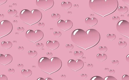 batch: Seamless tile and background of droplets in shape of heart in different sizes