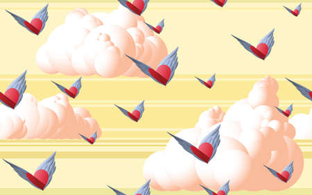 surrealistic: Majestic View of Flying Winged Hearts on a Serene Background of Foamy Pinkish Clouds and Vibrant Warm Sky Illustration