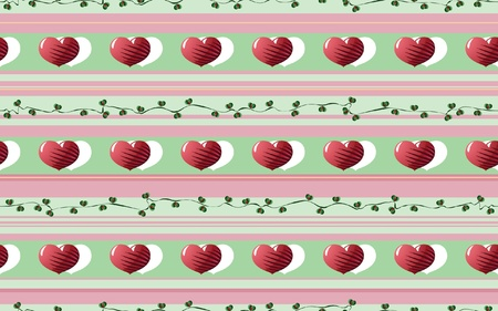 sequences: Decorative Rustic Pattern  consisting of Sequences of Stylized Hearts and Floral Motifs