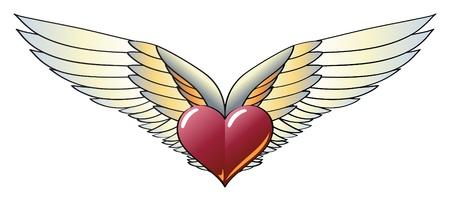 spunk: Coraz�n alado con alas amplia, intensos y coloridos