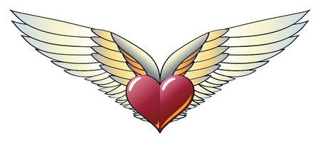 Winged Heart with Wide, Vivid and Colorful Wings Vector