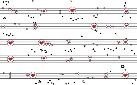 spirited: Cheerful Musical Composition  of Circles, Red and Black Hearts Illustration