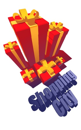 Arrangement of Gift Boxes  Looking Like City Stock Vector - 9844854