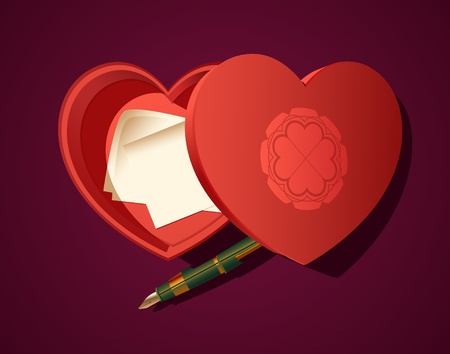 intrigue: Heart Shaped Box  with Fountain Pen and Notes Illustration