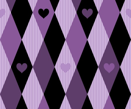 Rhomboid Pattern with Heart Ornaments Vector