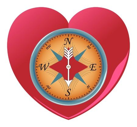 Heart shaped Love Compass Vector