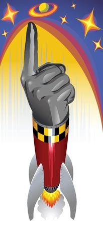 advancement: Only Way is UP - A Rocket with Iron Hand and Pointing Finger