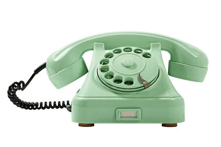 bakelite: Old Style Green Analog Phone  With Loose Curly Cord