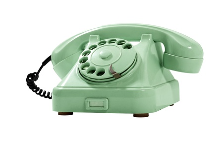 Old Style Green Analog Phone  With Loose Curly Cord Stock Photo - 12183642