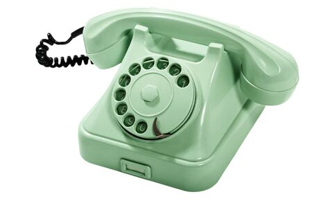 retro phone: Old Style Green Analog Phone  With Loose Curly Cord