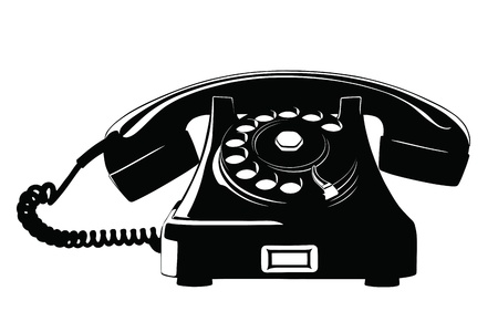 vintage telefoon: Old Style Analoge Telefoon Stencil met losse Krullend Cord