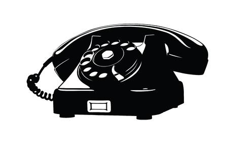telefono antico: Old Phone Stencil Style analogico, senza che la Cord Curly Vettoriali
