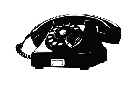 retro phone: Old Style Analog Phone Stencil With Loose Curly Cord