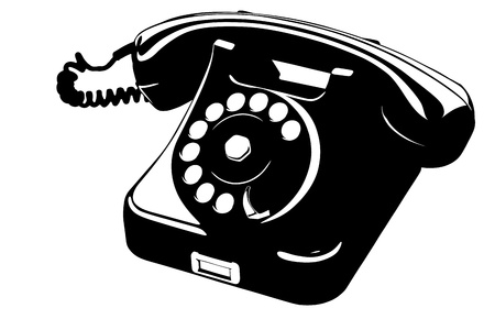 Old Style Analog Phone Stencil With Loose Curly Cord Vector
