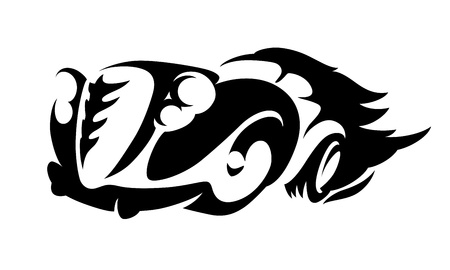 drag race: Fiery Sideways HotRod emblema