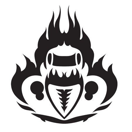 Fiery HotRod Emblem Front and Above Vector