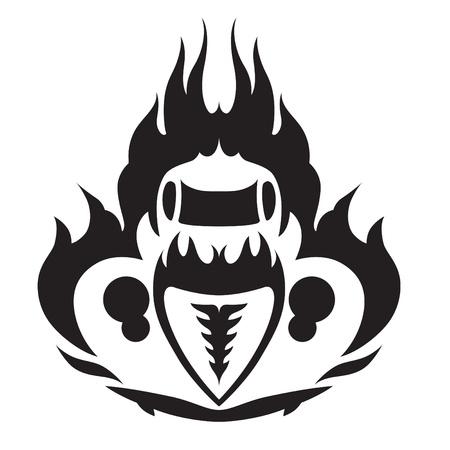 Fiery HotRod Emblem Front and Above Illustration