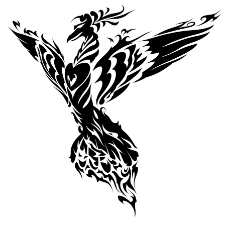 Blazing Bird Phoenix Tattoo Illustration