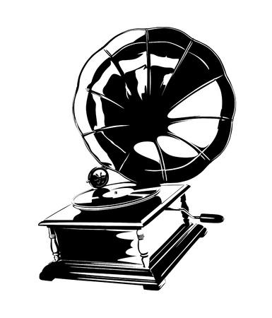 winder: Vintage Gramophone Stencil Illustration